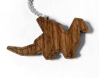 Wooden Origami Necklace - Dragon