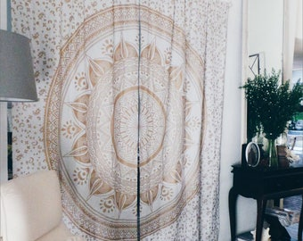 Gold Ombre Mandala Curtains