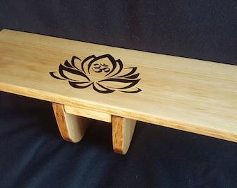 Very unique Lotus/Om burned Pi style folding meditation bench