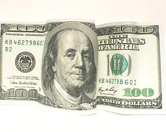 "Bent Benjamins-6""x14"" Money-Corporate Gift-Office Art-Promotion-Man Cave-Graduation Gift-MoneyTalks-Finance-Banking-Lucky Money-Prosperity"