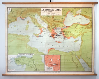 Vintage Rare Greek World School Map from Librairie Delagrave. Made in France