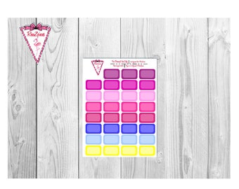 Printable Round Half Box - Functional Stickers w/Cut Line