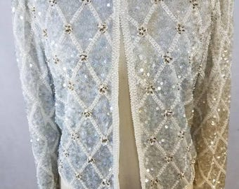 Laurence Kazar vintage sequin cardigan
