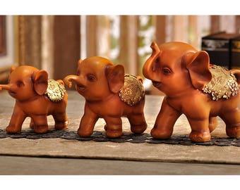Family of Three Little Elephants