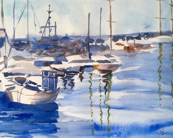 "Art, Original Watercolor, Seascape Painting, watercolor painting, watercolor art, landscape painting, nautical painting, boats, ""Harbor"""
