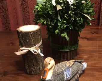 Wood log pillar tea light candle holders natural finish