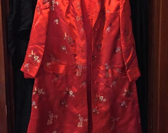Vintage Chinese Robe Floral Red with Brocade Trim