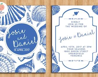 Ocean Blue theme Wedding Invitation Template, Invitations, Printable Invitation, Instant Download