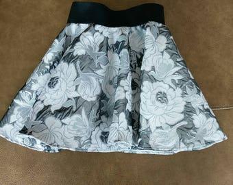 Floral lurex jacquard party skirt