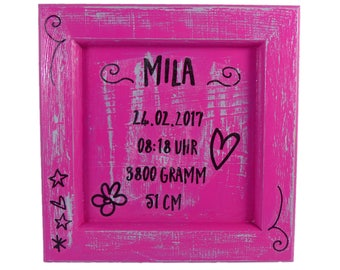 3D picture frame with birth data vintage