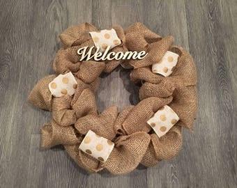 Polka Dot Burlap Welcome Wreath, Rustic Wreath, Welcome Wreath, Welcome Sign, Spring Wreath, Farmhouse Wreath