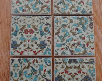 Set of 6 tile coasters, blues and reds