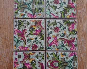 Set of 6 tile coasters, pinks and greens