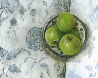 Blue & White and green apples - giclee print