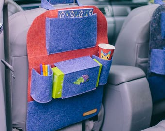 "Red and blue car seat organizer, Car seat protector, Car seat cover, Extra pockets for car, ""WildWind"" pockets for car"