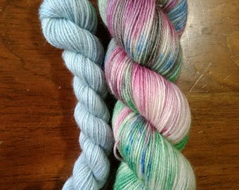 Hand dyed sock yarn - 115g + 20g mini in Raspberry Fields Forever and Blueberry