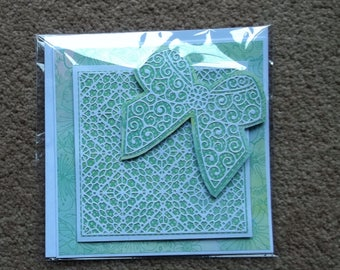 Stunning Handmade card shabby chic die cut - gift with bow