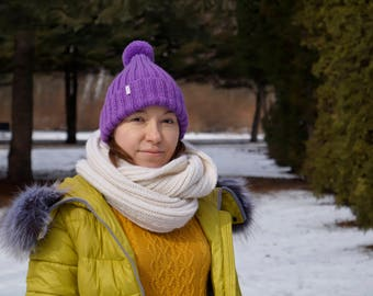 Women's Knit Hat /Knit violet Hat/Handmade Hat/