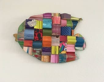 Tropical Colorful Wooden Fish Wall Art
