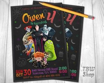 Hotel Transylvania Invitation, Hotel Transylvania Birthday Party, Monsters, Dracula, Cartoon, Printable, Chalkboard, Digital File