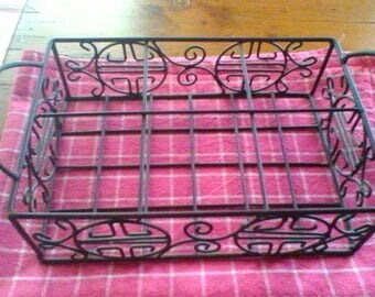 Wire Glass Carrier - vintage French glass basket