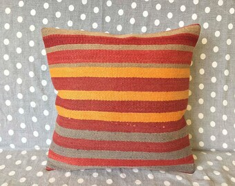 Turkish pillow, vintage cushion, rug pillow, vintage pillow, throw pillow, kilim cushion cover, pillows,  accent pillow - TV0007