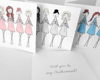 Bridesmaid cards, Personalized bridesmaid cards, Choose Will you be my bridesmaid or Thank you for being my bridesmaid, Maid of Honor