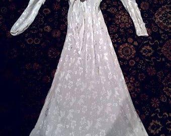 Vintage 20s 30s Glam Art Deco Crepe DE Chine Flapper Burlesque Gown Wedding Dress