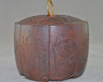 Chinese ceramic I hsing (Yixing) Go counter box and cover