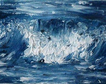 Abstract, Ocean Painting, Minimalist, Seascape, Sea,  Blue Painting, Nature Wall Art, Oil Paint Wall Decor | 5x7 Oil on canvas