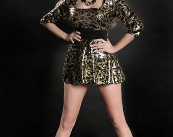 Black and Gold Sequin Mini