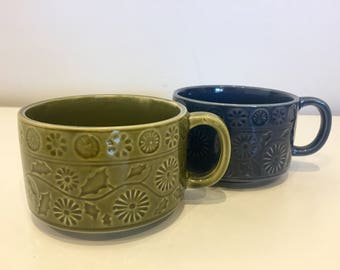 Retro Flower & Leaf Pattern Soup Bowls with Handles Made in Japan