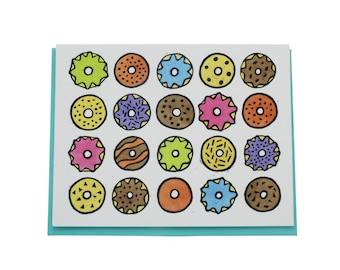 Doughnut card, donut bagel blank greeting card, Brooklyn greeting card, New York greeting card, sweet treats card, A2 card, Brooklyn range