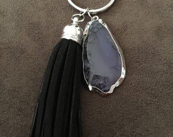 Purple Natural Stone and Tassel Keychain