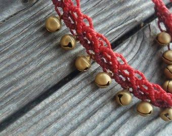 macrame bracelet with little bells