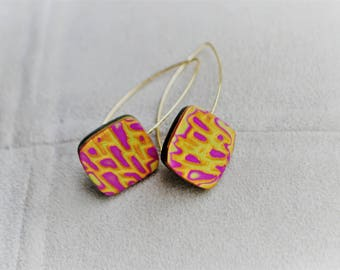 Polymer clay earrings in purple, lime and gold handmade, unique piece