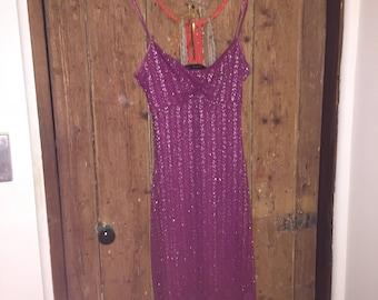 90s Shimmer Sparkly Mauve Midi Dress Bodycon