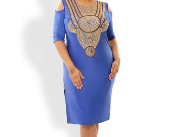 Serena, Midi Dress, Sexy Blue Dress, High Slit Dress, Off Shoulder Top, Scoop Neck Dress, Bachelorette Party Dress,Plus Size Prom Dress,Gold