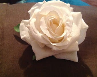 Ready to Ship Large ivory silk rose pin on corsage.