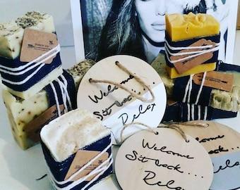 Handmade Soap & Wooden Decor Plaque Gift Pack / Inexpensive Handmade Gift