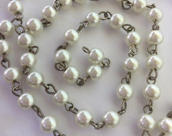 "33"" Ivory Glass Pearl Chain 6mm"
