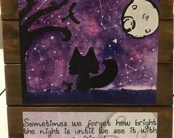 Handmade Night Sky Watercolor Print on Rustic Sign