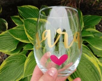 Personalized Name: stemless wineglass, personalized wineglass, bridesmaid wineglass,bachelorette party wineglass, bridesmaids gifts