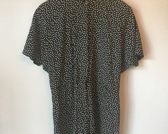 Vintage Women's 80s 90s Black and White Romper Polka Dot Shorts