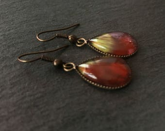 Burgundy Dangle Earrings Drop Teardrop Earrings Hand Painted Antique Bronze