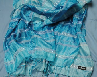 Scarf or shawl, 100% silk, light turquoise blue, lightweight, 28x78, very good condition