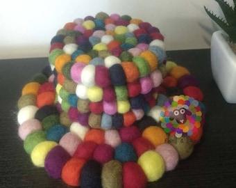 Multicolored Felt Ball Trivet and Coasters Set. 100 % Wool
