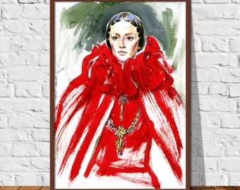 Fashion illustration for Digital Download Print, woman in red cape and red dress, Printable Poster