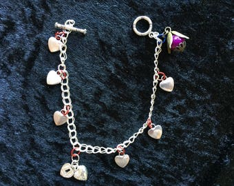 Flower and hearts charm bracelet