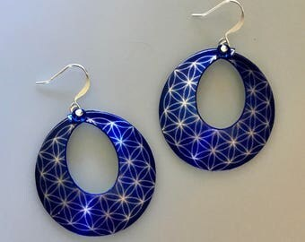 Night Sky Flower of Life Hoop Earrings--Flower of Life Jewelry-Sacred Geometry-Yoga Jewelry-Spiritual Gifts for Her-Seed of Life Earrings